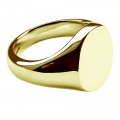 16 x 13mm 18ct Yellow Gold Oval Signet Rings Stamped Plain