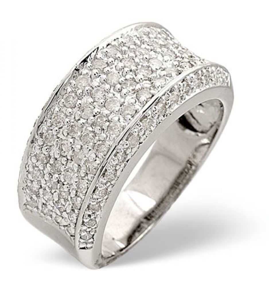 Pave Set Ring 0.94ct Diamond 9ct White Gold
