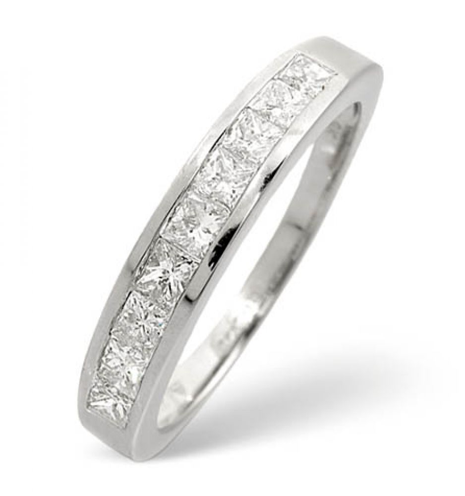 9ct 0.70ct White Gold Half Eternity Princess Diamond Ring