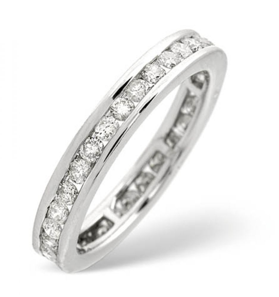 9ct 0.91ct White Gold Full Eternity Diamond Ring