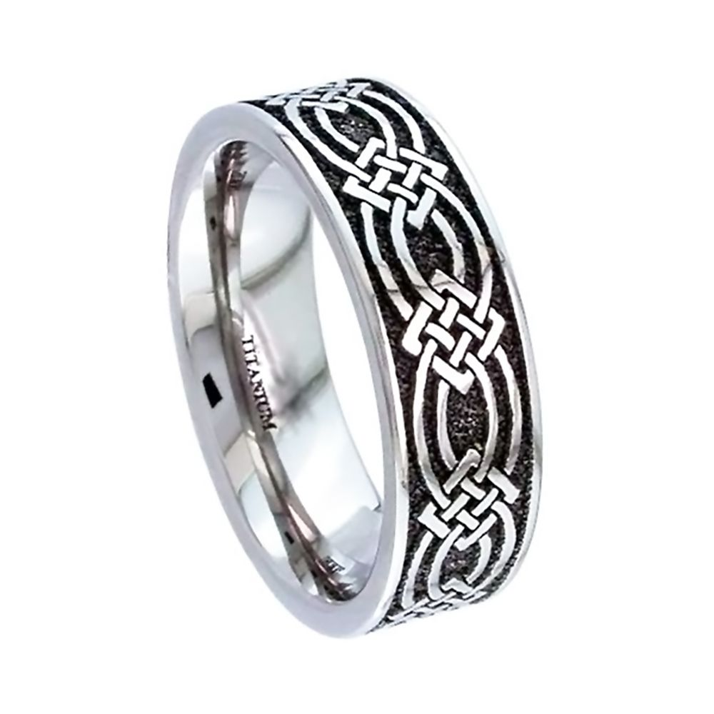 Titanium Celtic Flat Court Comfort Wedding Ring