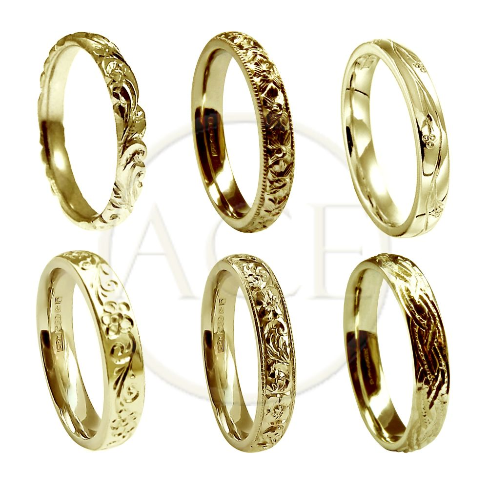 3mm 9ct Yellow Gold Vintage Hand Engraved Court Wedding Bands