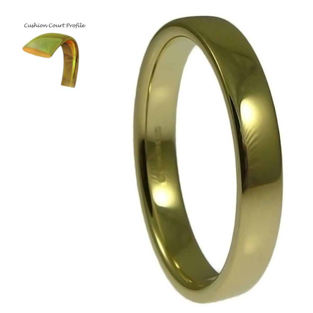 2.5mm 9ct Yellow Gold Heavy Cushion Court Comfort Wedding Rings Bands
