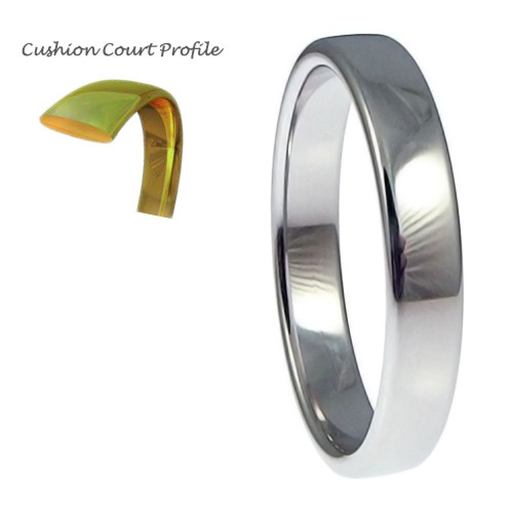3mm 9ct White Gold Heavy Cushion Court Comfort Wedding Rings Bands