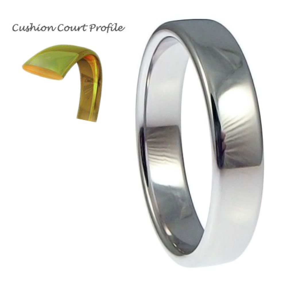 5mm 9ct White Gold Heavy Cushion Court Comfort Wedding Rings Bands