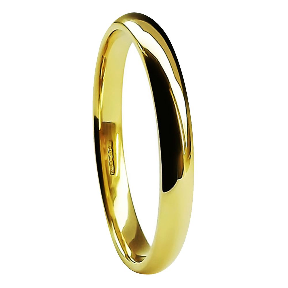 2mm 9ct Yellow Gold Light Court Comfort Wedding Rings Bands