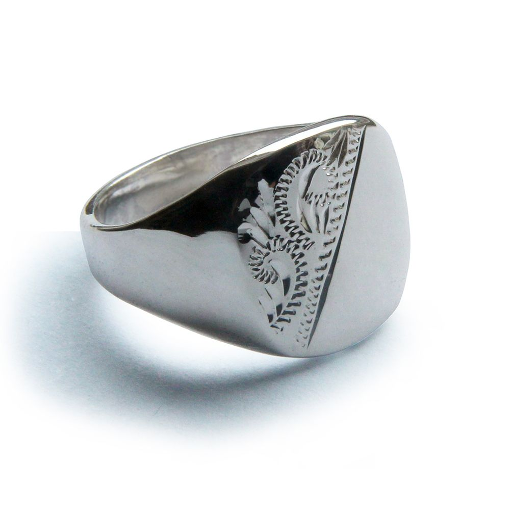 925 Sterling Silver Half Engraved Cushion Signet Rings 18 x 13mm
