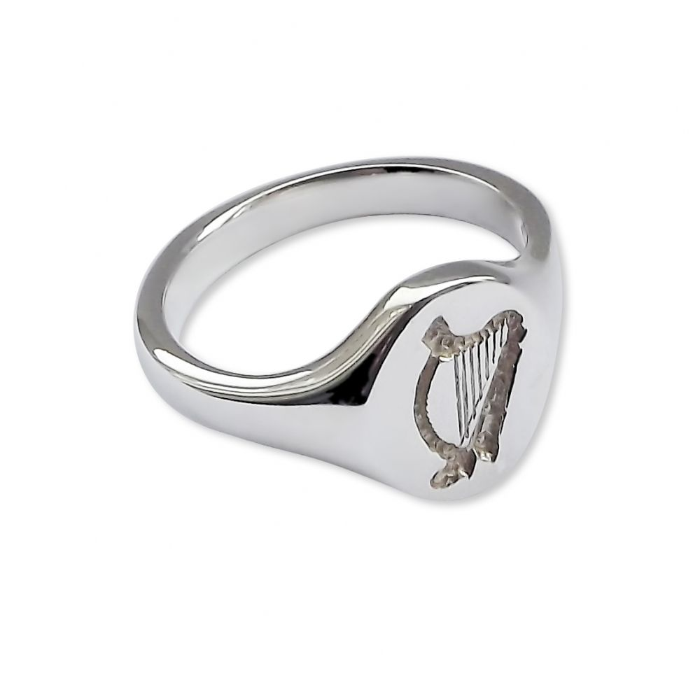 925 Sterling Silver Welsh Harp Signet Rings 14 x 12mm 8.1g