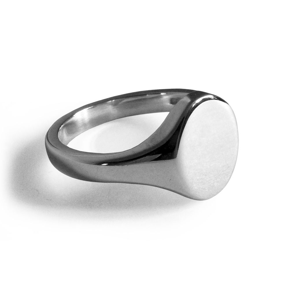 925 Sterling Silver Oval Signet Rings 14 x 12 x 2.5mm