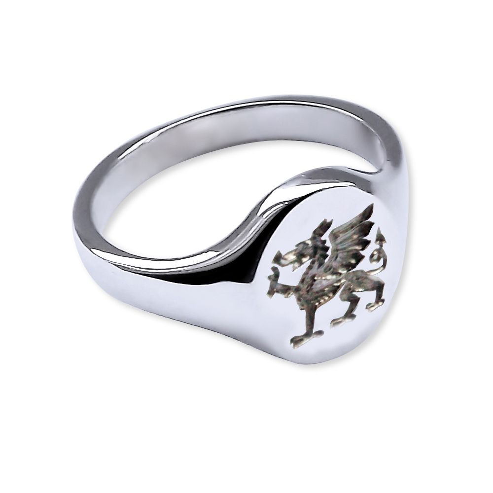 925 Sterling Silver Welsh Dragon Signet Rings 14 x 12mm 8.1g