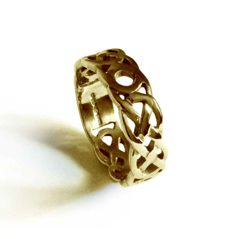 SALE 4mm 9ct Yellow Gold Celtic Wedding Ring At Size N.5