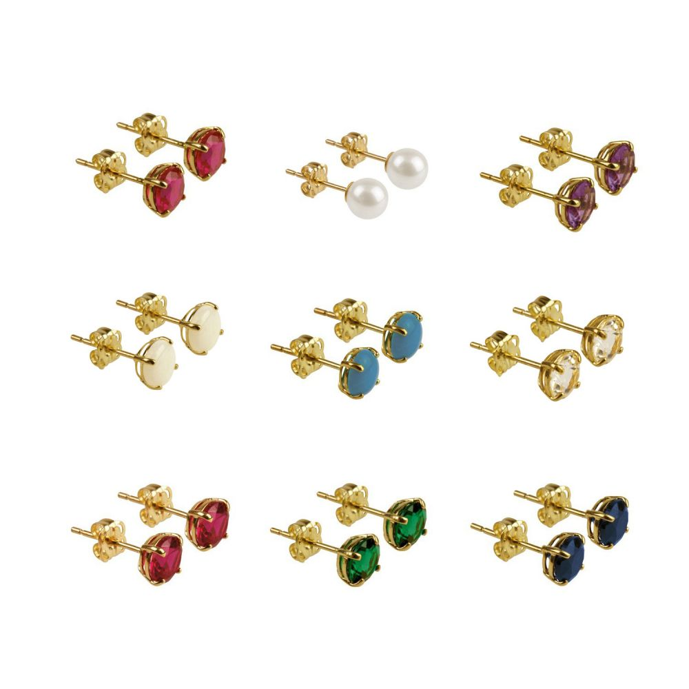 9ct Yellow Gold 5mm Birthstone Gemstone Earrings