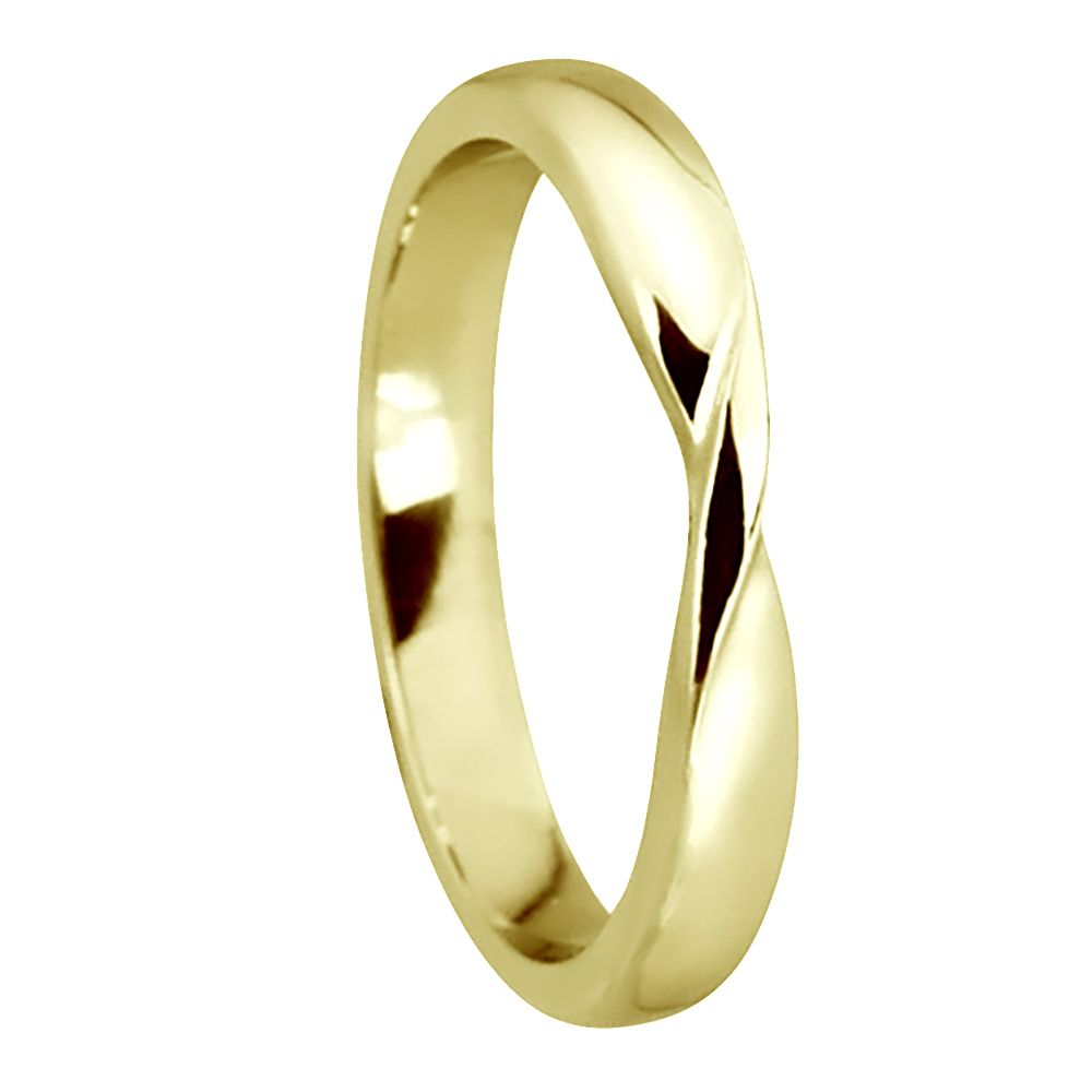 9ct Yellow Gold  Ribbon Twist Wedding Rings Bands D Profile