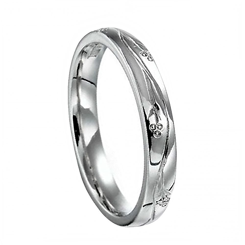 3mm Vintage Hand Engraved Court Wedding Band With Flowers Design 925 Sterling Silver