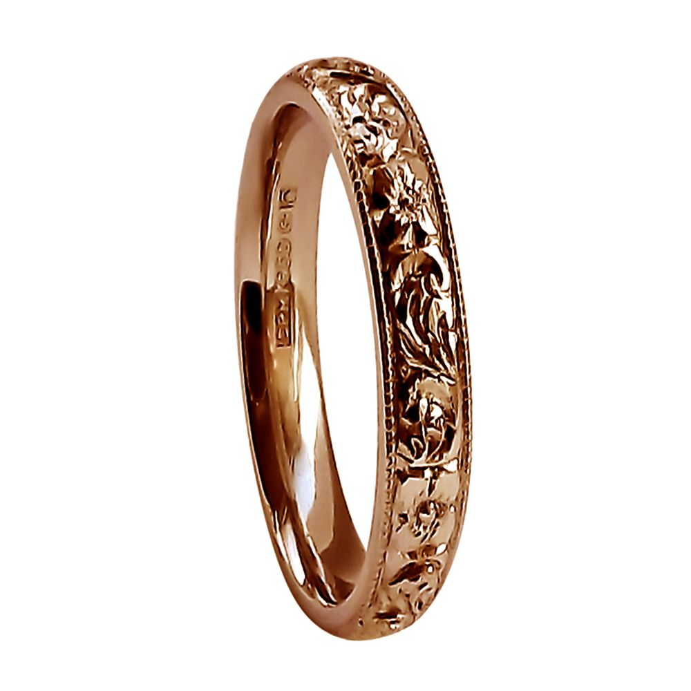 3mm Vintage Hand Engraved Court Wedding Band With Flower & Scroll Design 9ct Rose Gold