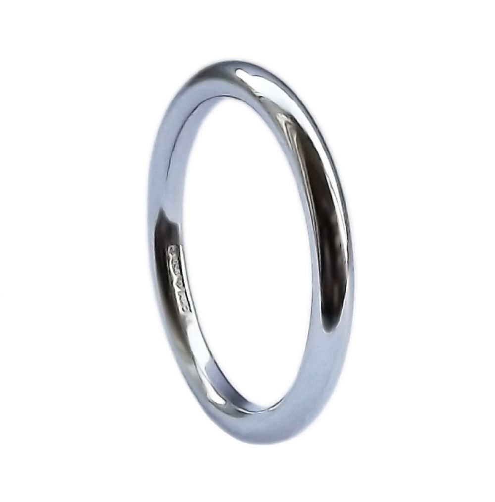 2mm 9ct White Gold Halo Wedding Rings Bands