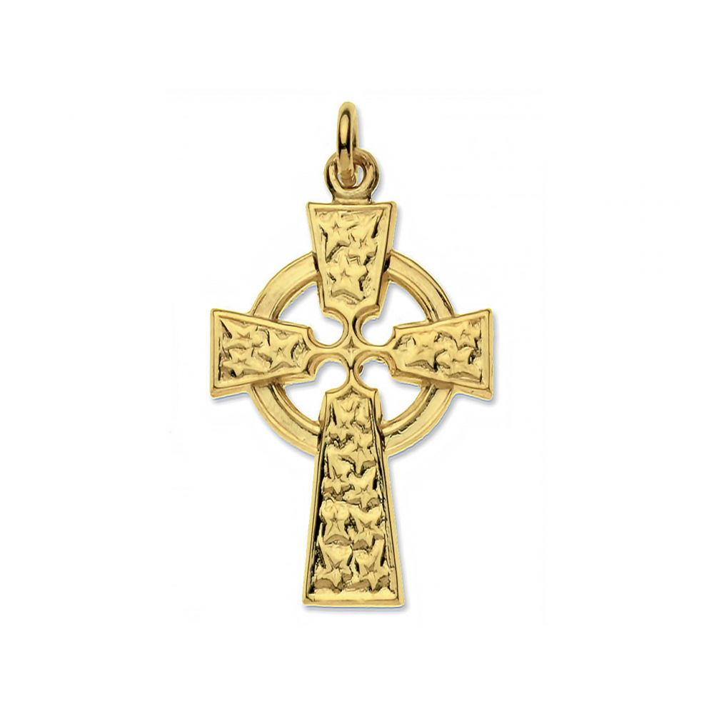 9ct Solid Gold Stars Cross And Optional Diamond Cut Fine Hanging Belcher Chain
