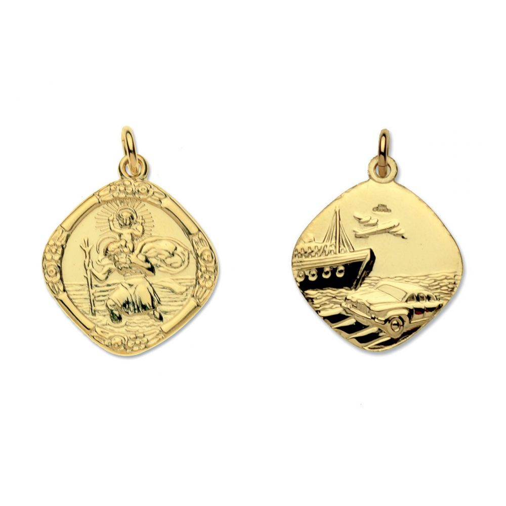 9ct Yellow Gold Medium Reversible St Christopher Pendant & Optional Chain