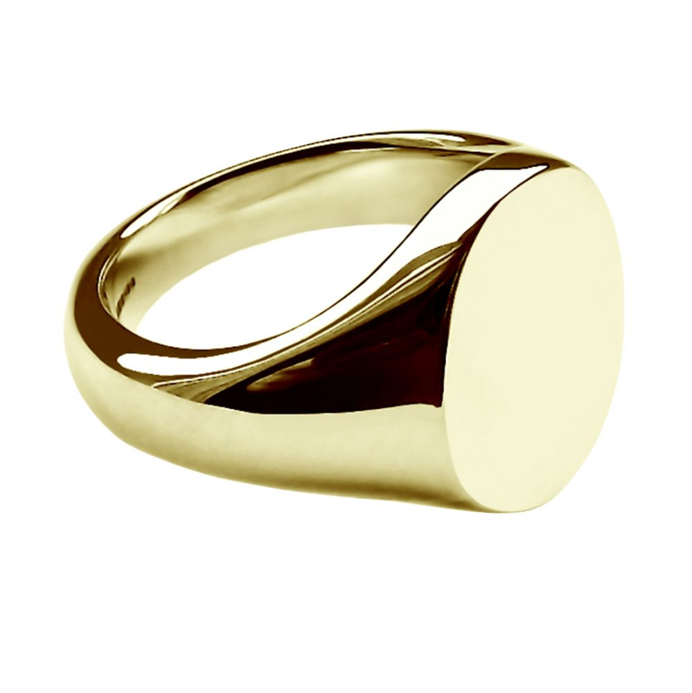 SALE 9ct Yellow Gold Unisex Bespoke Oval Signet Ring 14x12x2.7mm At Size L.5