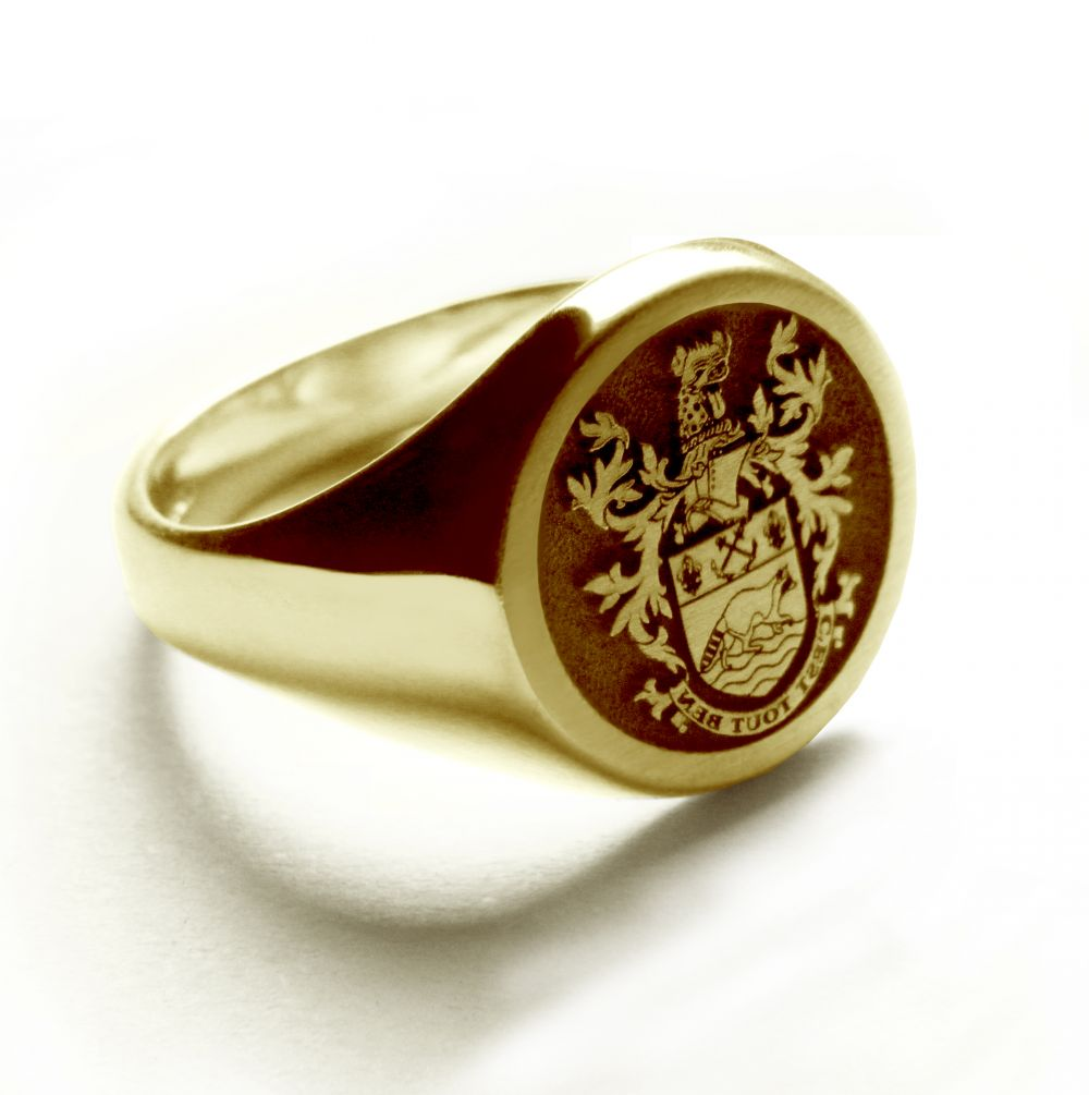 9ct Yellow Gold 13mm Round Laser Engraved Family Crest Signet Rings 7.6g