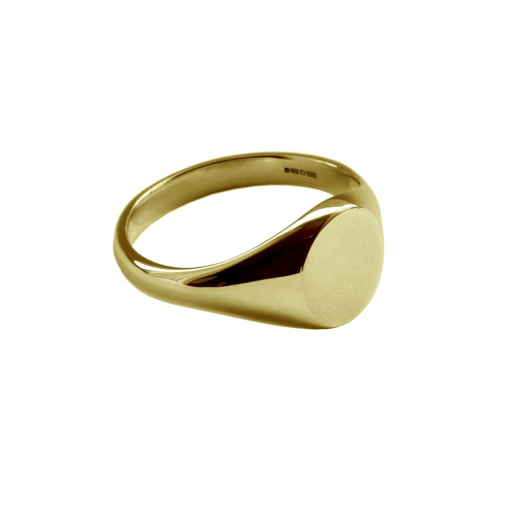 9ct Yellow Gold Ladies Oval Signet Rings 9.6 x 7.1 x 1.8mm