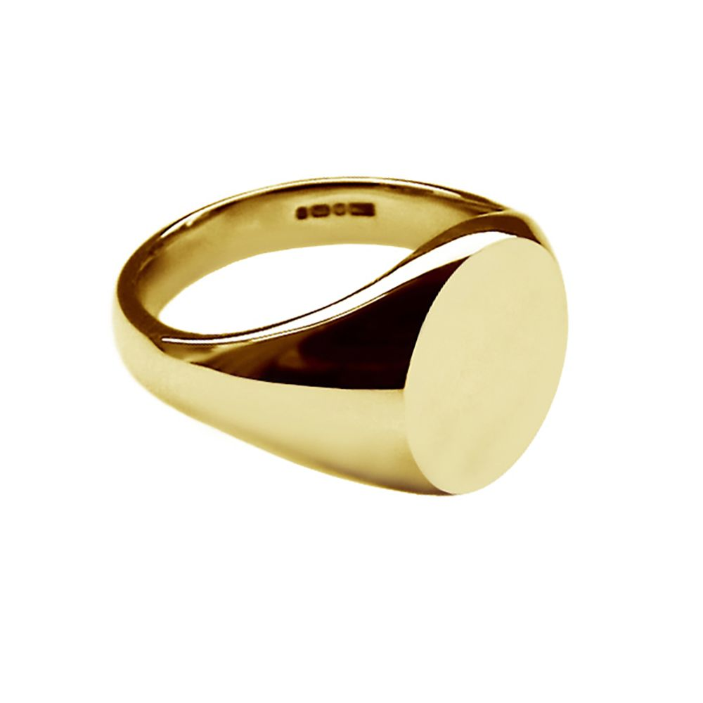 9ct Yellow Gold Ladies Oval Signet Rings 11 x 9mm 5.7g