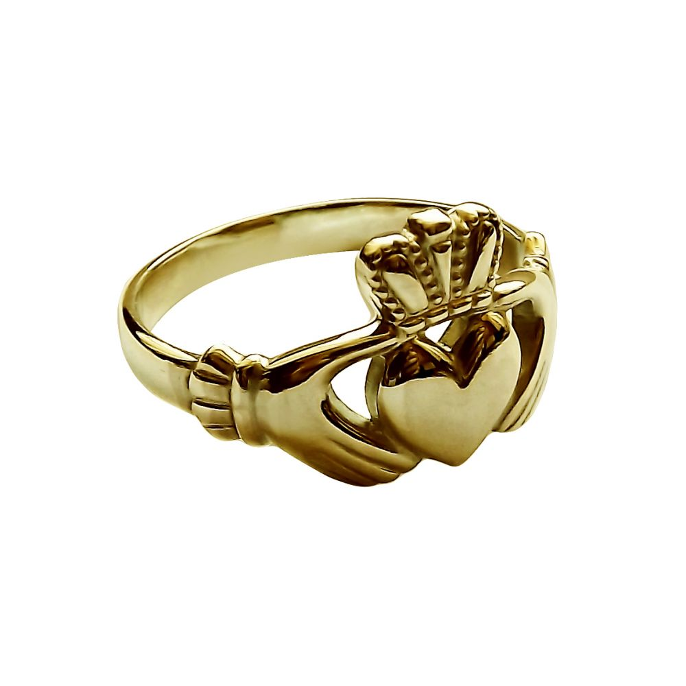 9ct Yellow Gold Child's Irish Claddagh Rings Face Size 10.5mm