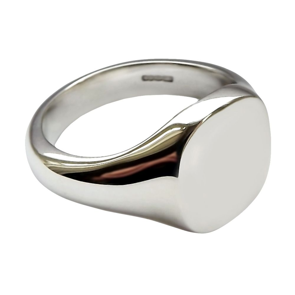 925 Sterling Silver Cushion Shaped Signet Rings 14 x 13mm 15.1g
