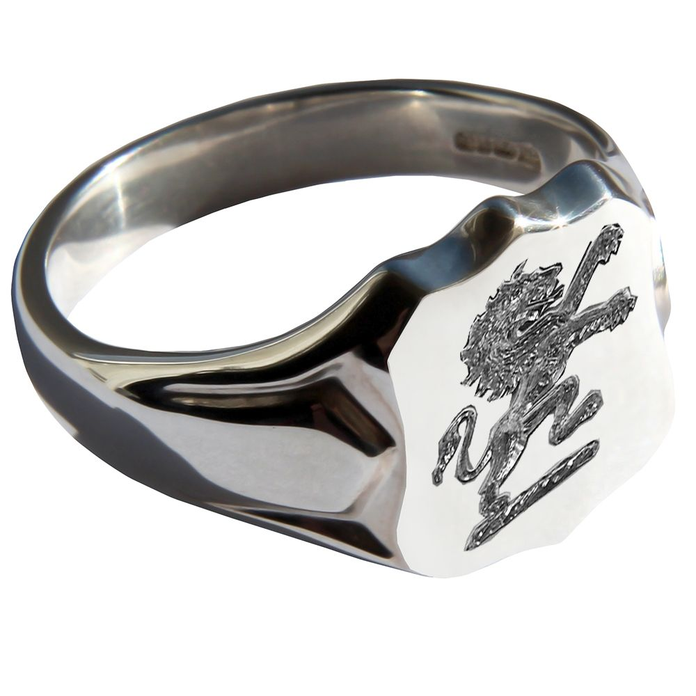 925 Sterling Silver Shield Shaped Family Crest Signet Rings 14 x 12mm