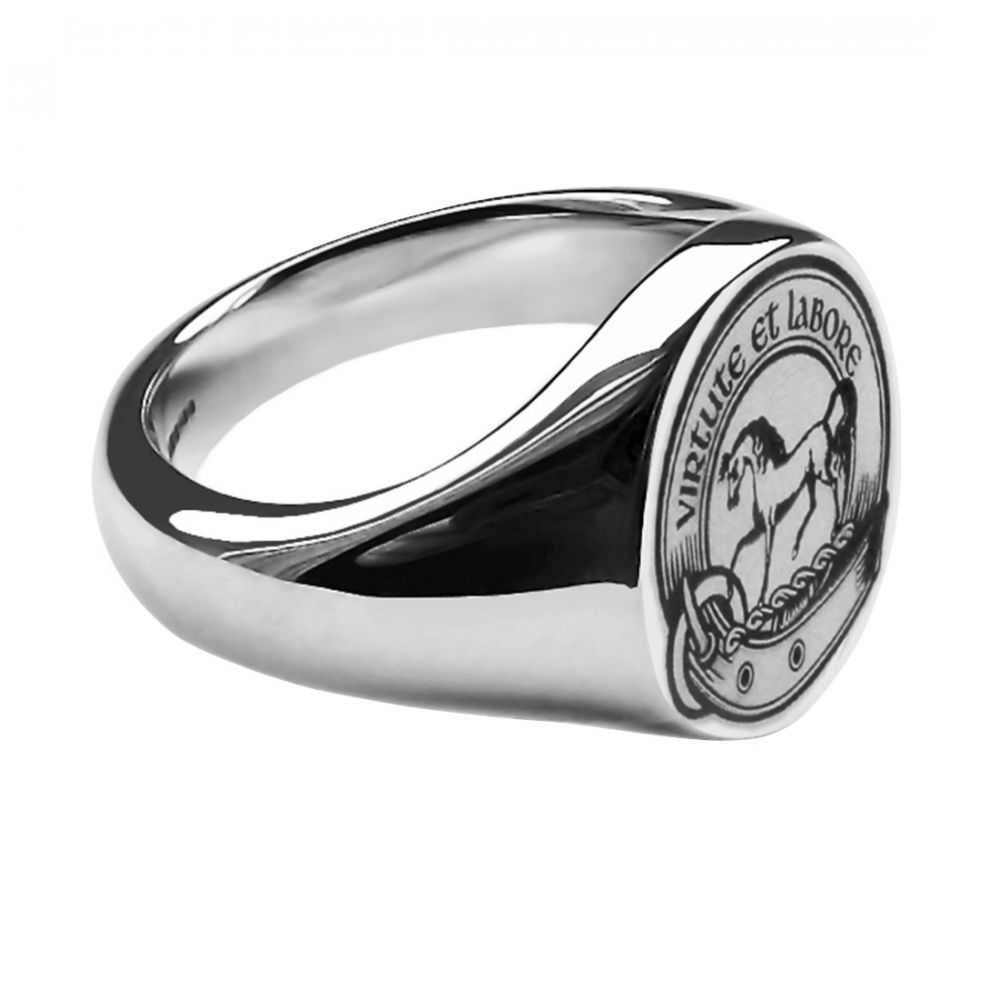 925 Sterling Silver Unisex Laser Engraved Oval Family Crest Signet Rings 14x12x2.7mm