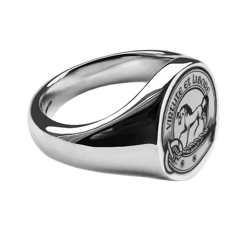 925 Sterling Silver Unisex Laser Engraved Oval Family Crest Signet Rings 13x11x2.7mm