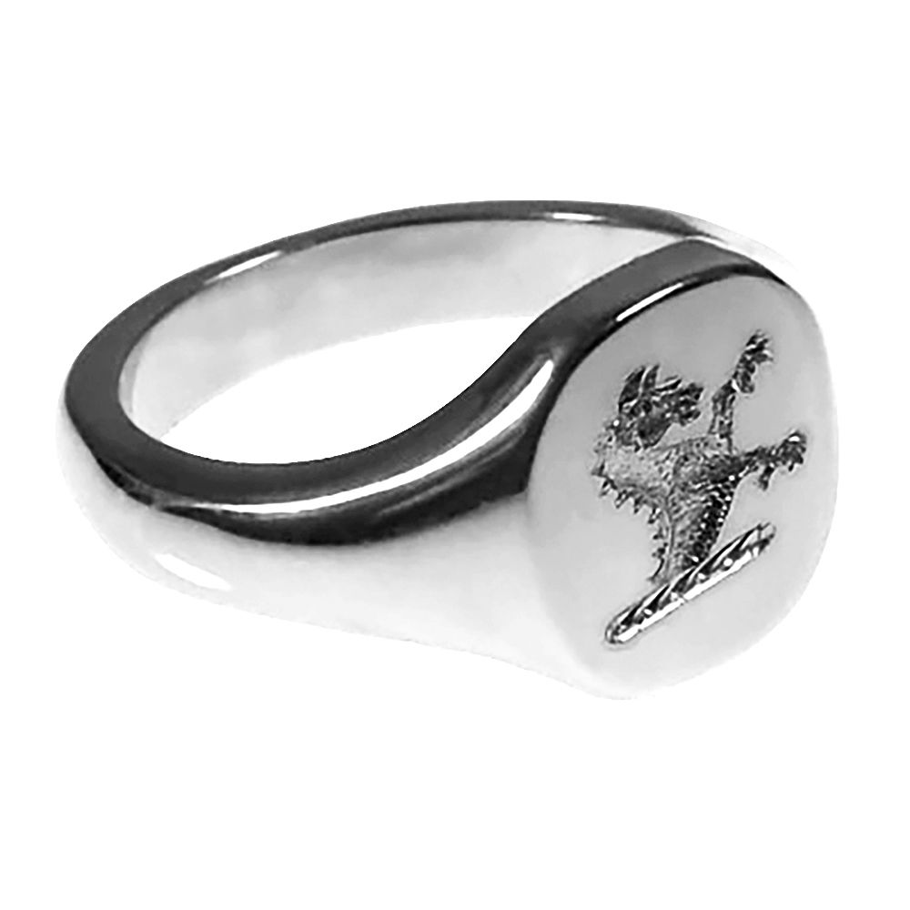 925 Sterling Silver 12 x 11 x 1.85mm Stamped Cushion Shaped Family Crest Signet Ring