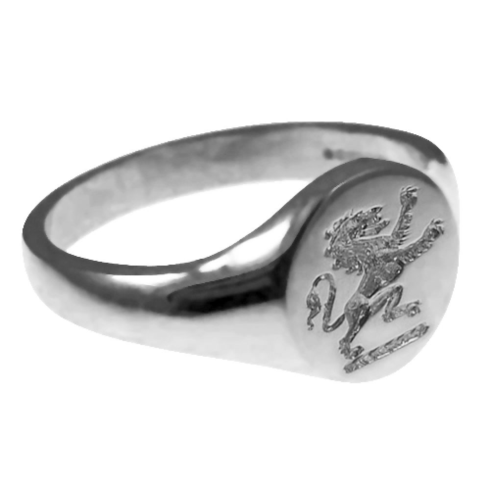 925 Sterling Silver 11mm Round Family Crest Signet Rings