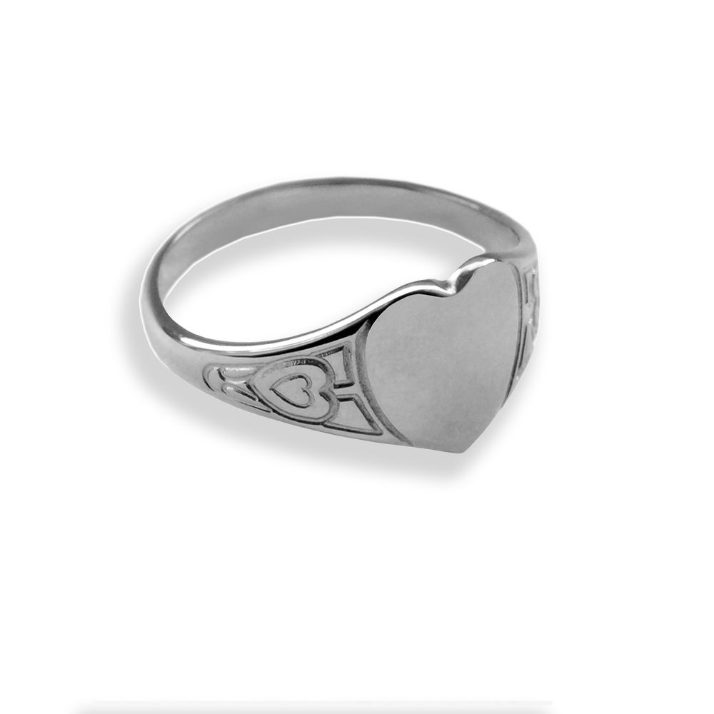 925 Silver Child's Patterned Heart Shaped Signet Rings 8 x 8mm