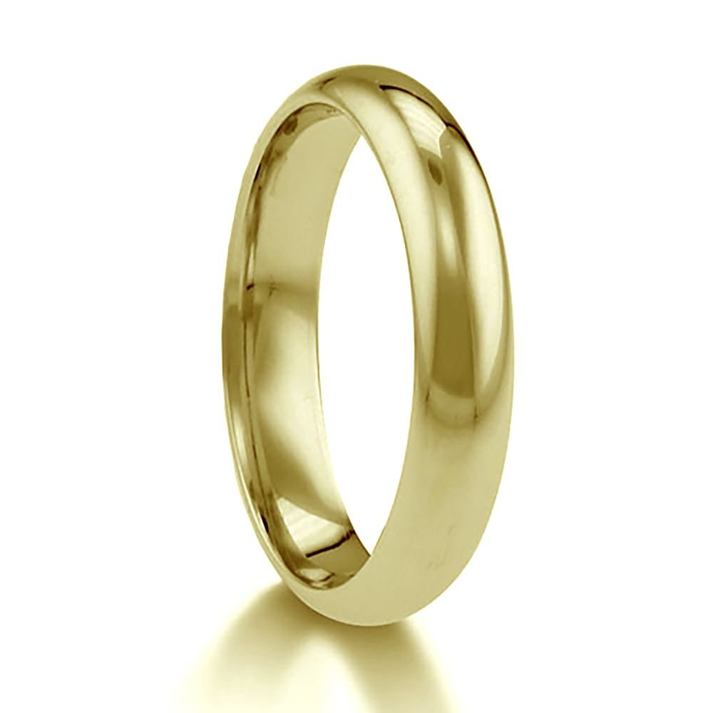 4mm 9ct Yellow Gold Paris Profile Wedding Rings Bands