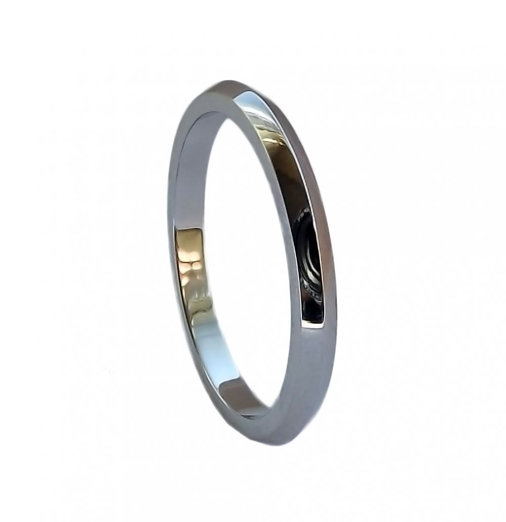 3mm 950 Platinum D Profile Knife Edge Wedding Ring