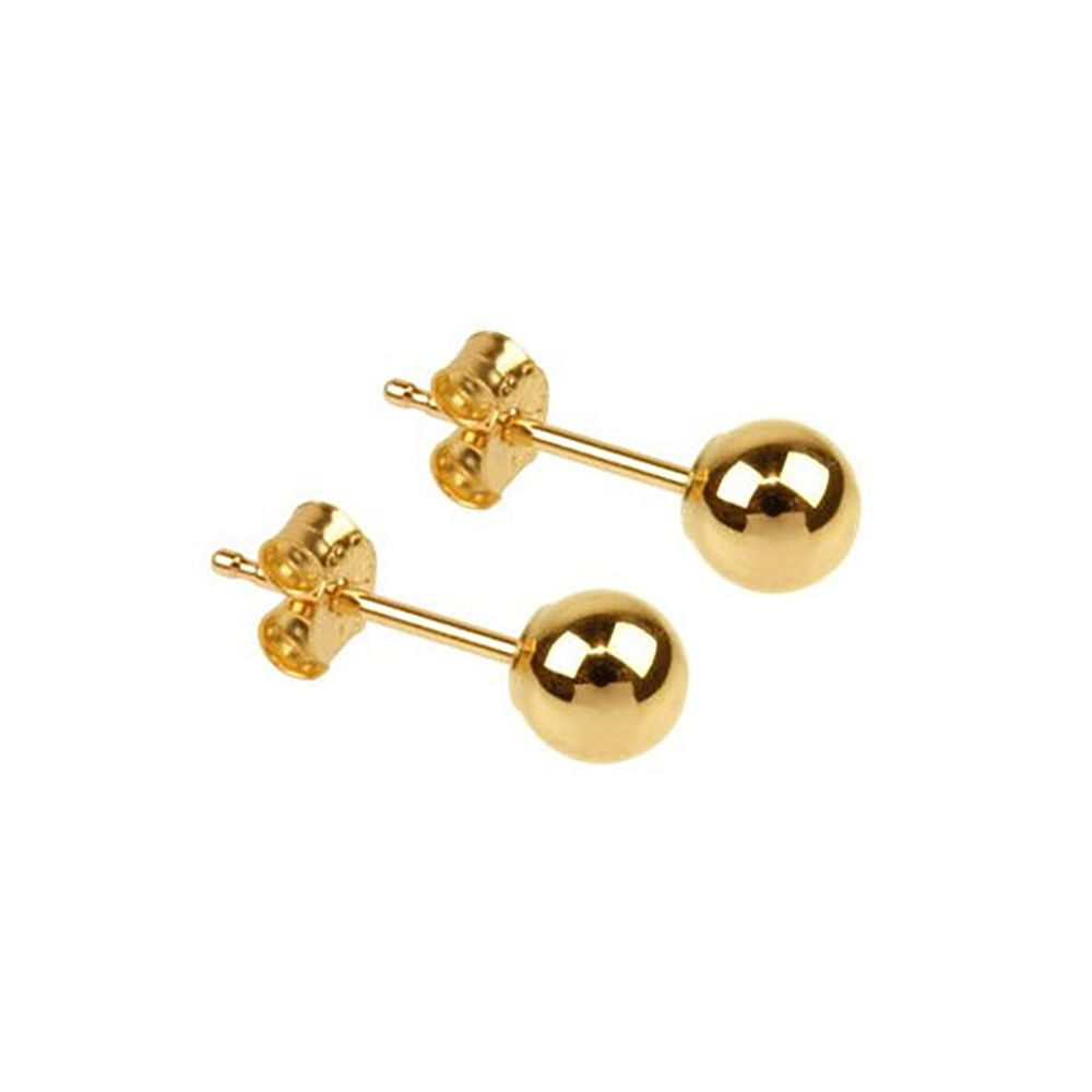 9ct Yellow Gold Plain Stud Earrings 3-10mm UK Made