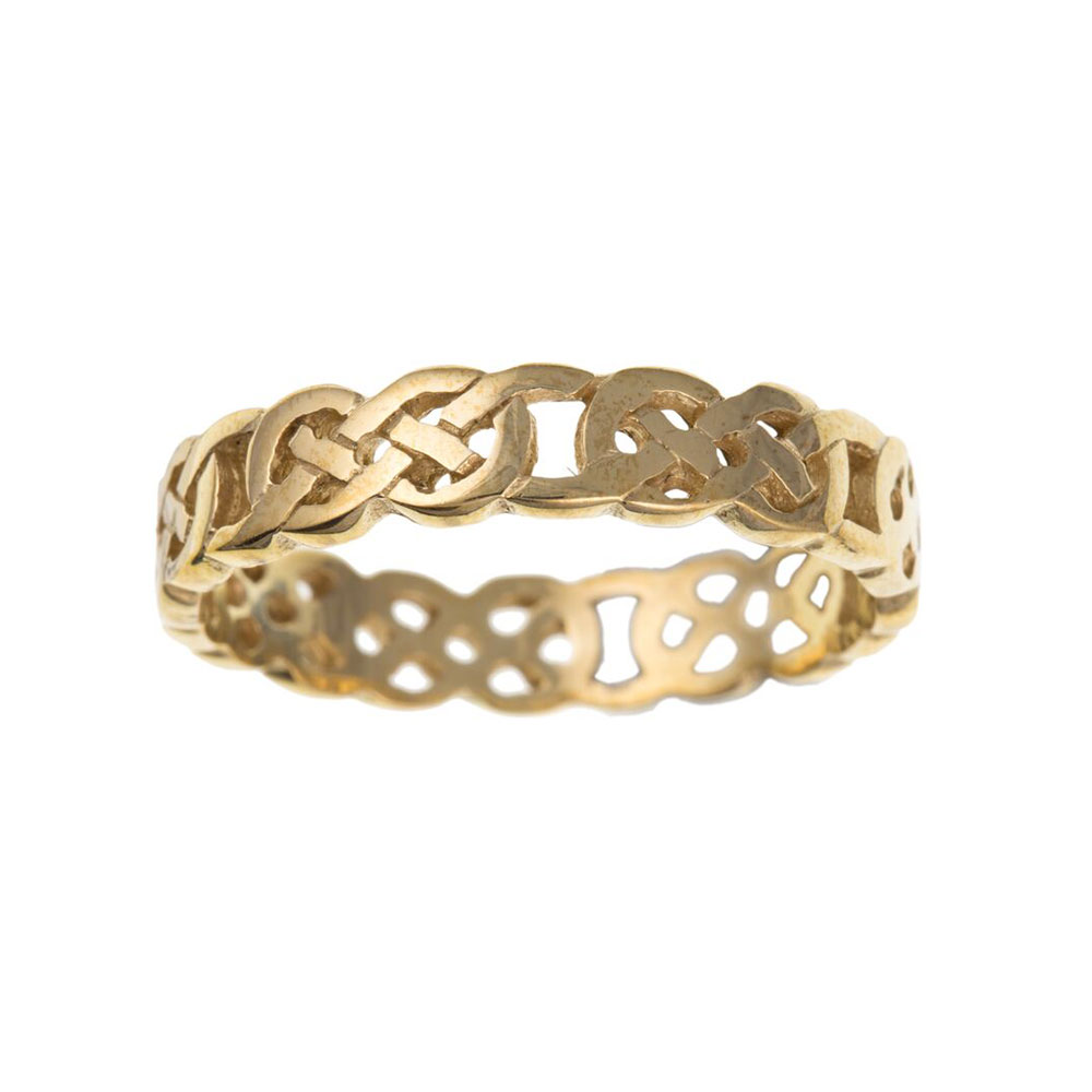 9ct Yellow Gold Celtic Style Gents / Mens Ring 5mm