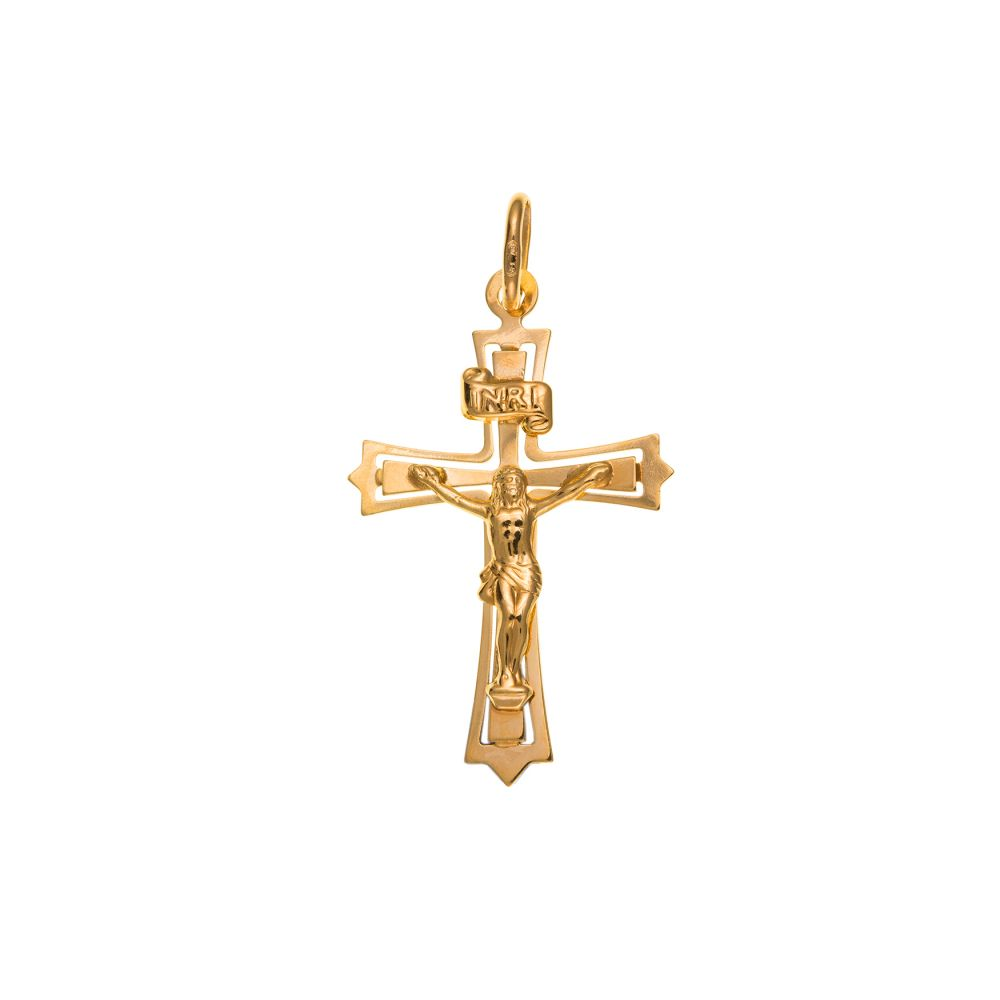 9ct Solid Gold Crucifix Cross And Optional Diamond Cut Fine Hanging Belcher Chain