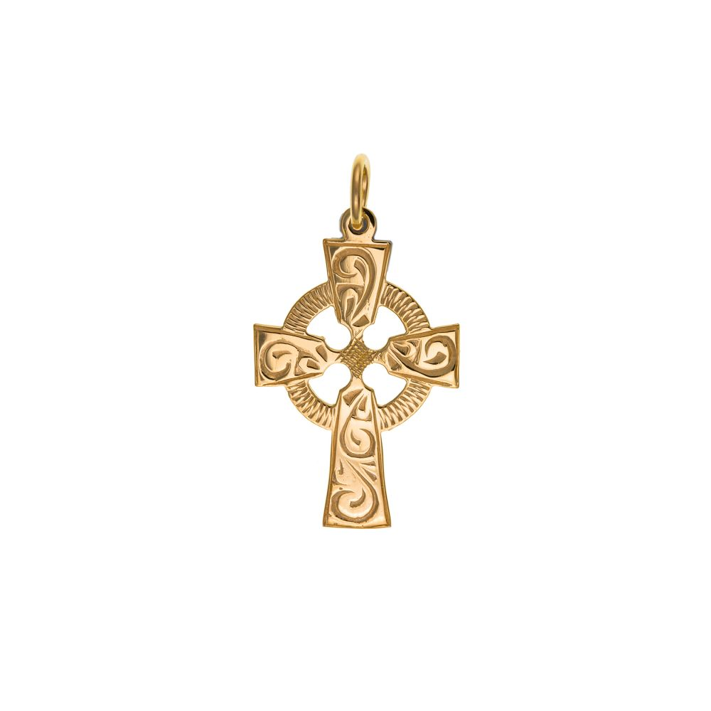 9ct Solid Gold Celtic Cross And Optional Diamond Cut Fine Hanging Belcher Chain