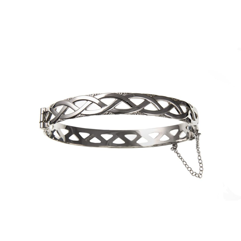 925 Solid Sterling Silver 925 Silver Ladies Celtic Hinged Bracelet With Safety Chain