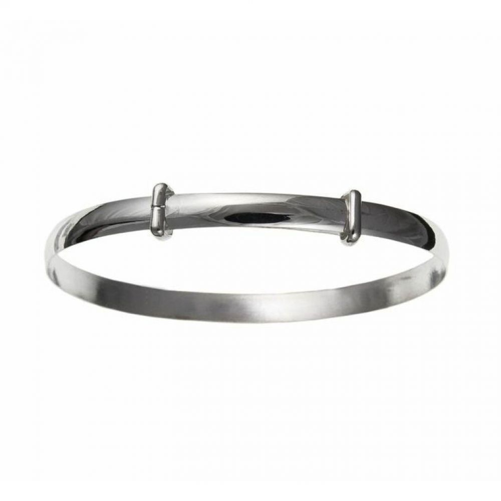 925 Sterling Silver 4mm Plain Expanding Bangle Woman's / Child's / Babies UK HM