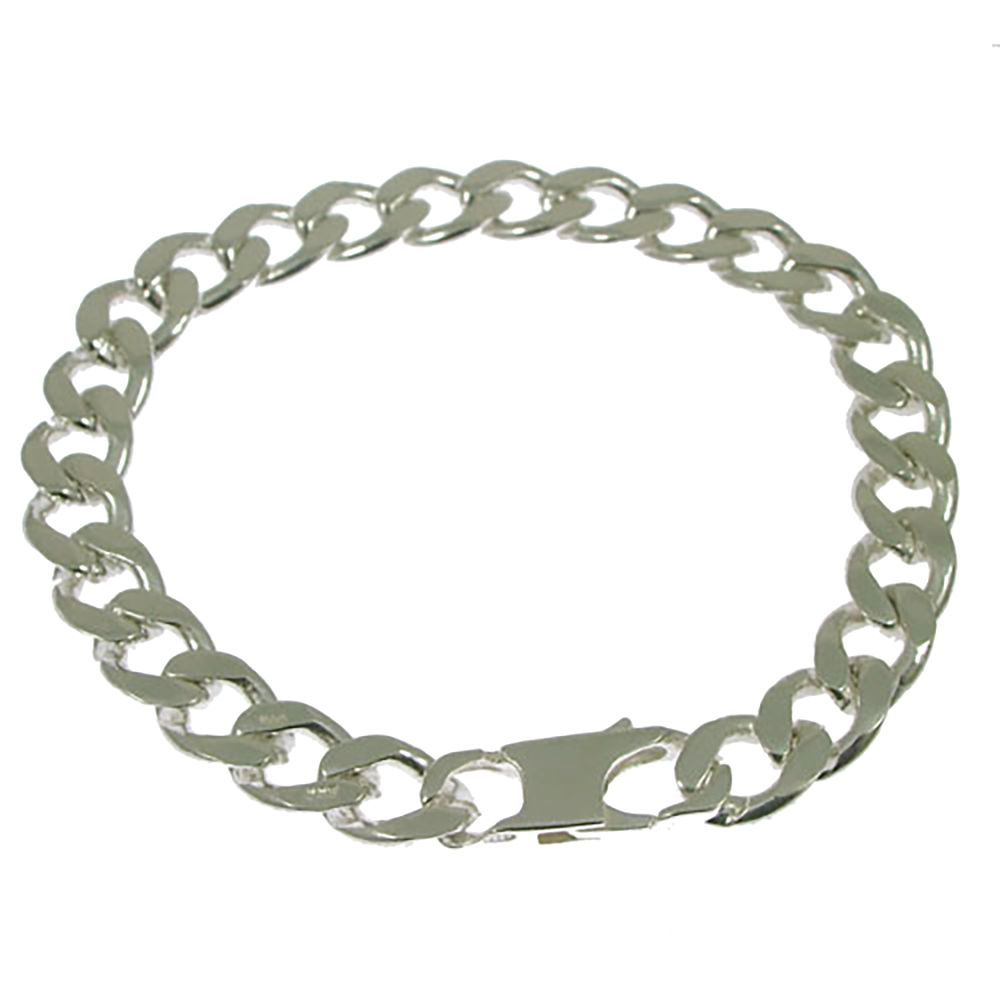 925 Sterling Silver Men's Heavy Curb Bracelet 21.1g