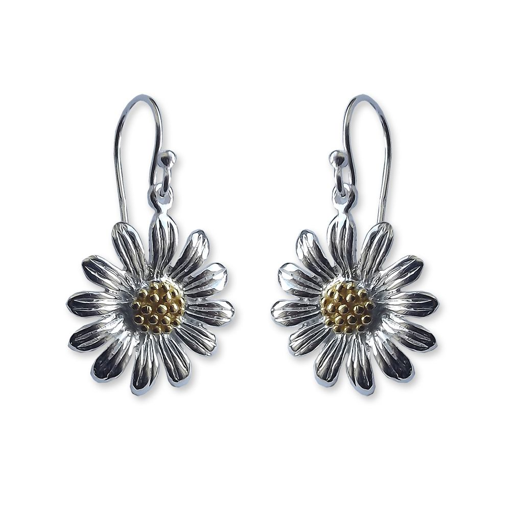 925 Sterling Silver Flower Drop Earring UK Made
