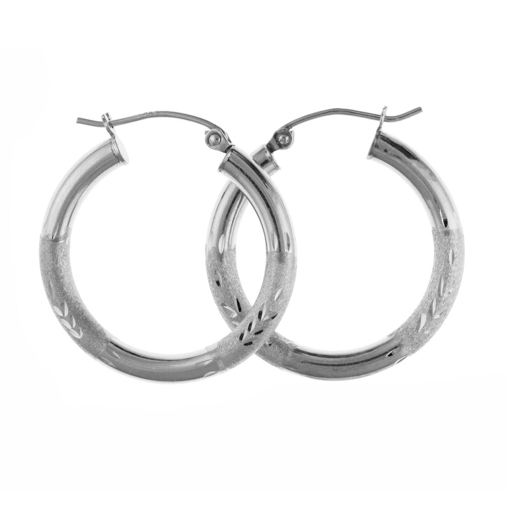 925 Sterling Silver Creole Earrings With Lever Catches