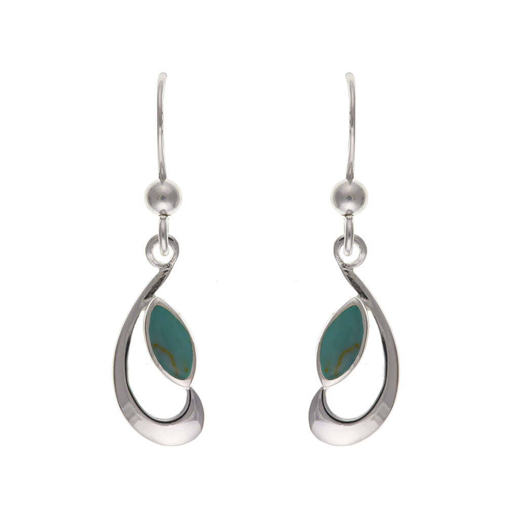 925 Sterling Silver Real Turquoise 27mm Drop Earrings
