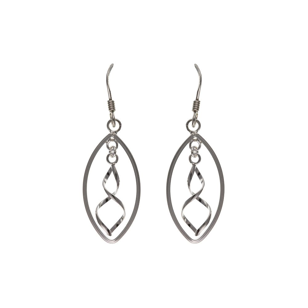 925 Solid Sterling Silver Oval Spiral Drop Earrings  With Shephard Hooks