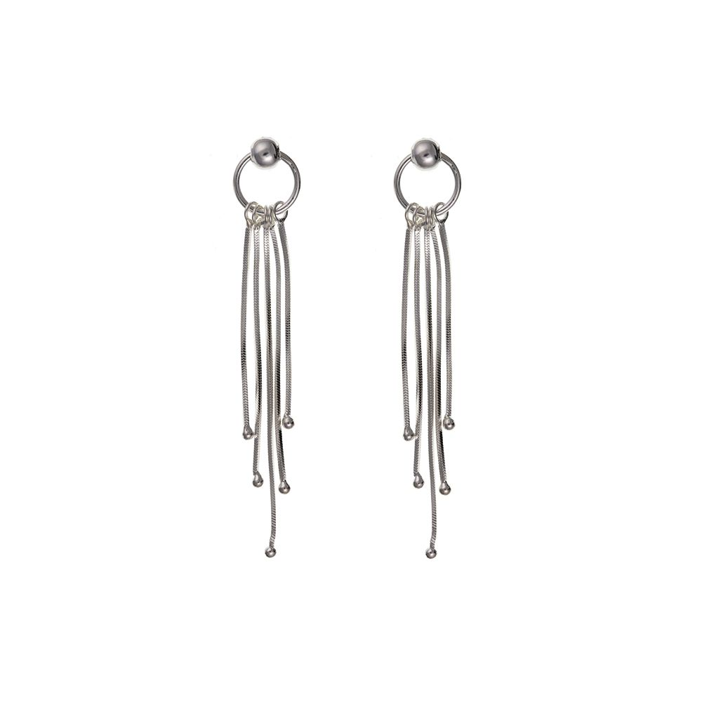 925 Solid Sterling Silver Multi Strand Drop Earrings