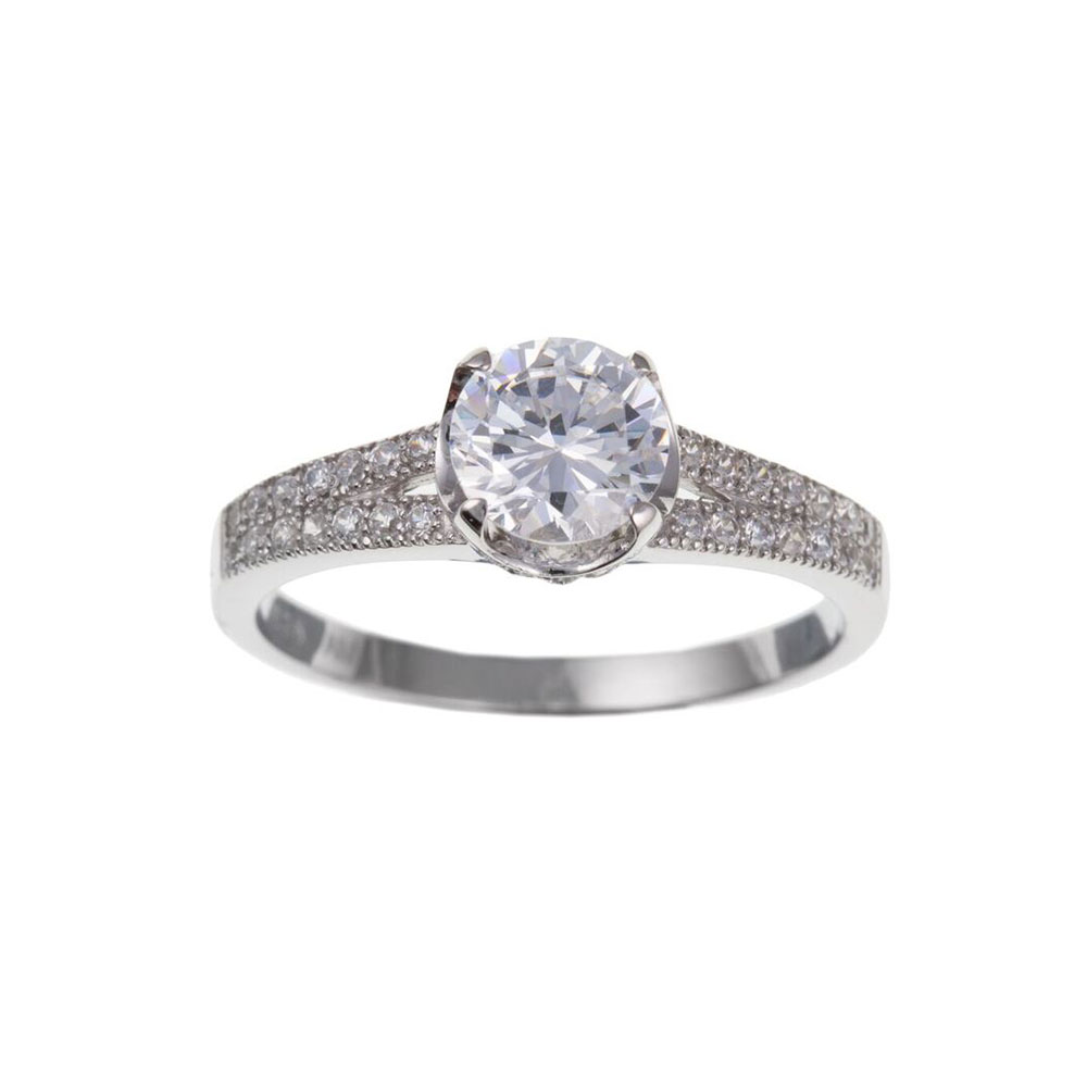 925 Sterling Silver and CZ 8mm Dress Ring