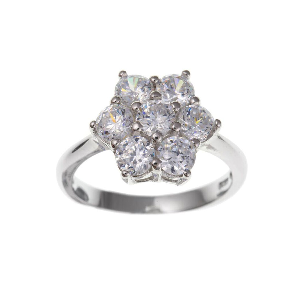 925 Sterling Silver and CZ 14mm Cluster Dress Ring